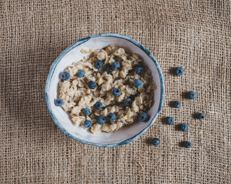 healthy foods: Oatmeal with blueberries. healthy foods, fresh fruits, healthy breakfast, good morning Stock Photo
