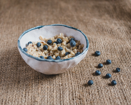 healthy foods: healthy breakfast. Oatmeal with blueberries, healthy foods, fresh fruits, healthy breakfast, good morning.
