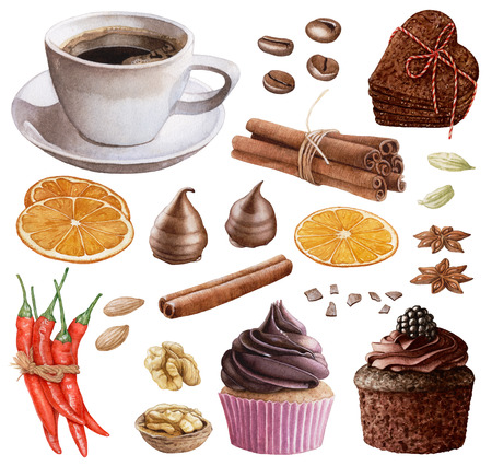 Watercolor desserts, coffee, spices, nuts isolated on white background. Cinnamon sticks, cookies, muffin, chocolate, red peppers, orange slices, coffee beans, cardamon.