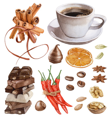 Watercolor desserts, coffee, spices, nuts isolated on white background. Cinnamon sticks, chocolate, red peppers, orange slices, coffee beans, cardamon. Archivio Fotografico