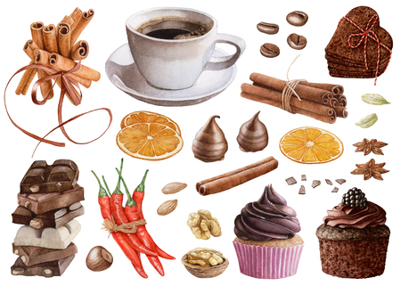 Watercolor desserts, coffee, spices isolated on white background. Cinnamon, chocolate, muffin, red peppers, orange slices, cookies, coffee beans, cardamon, nuts.