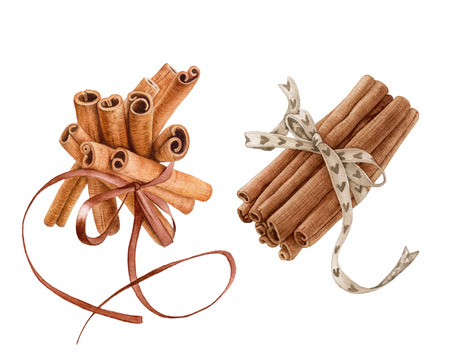 Watercolor bunches of cinnamon sticks with ribbons isolated on white background.