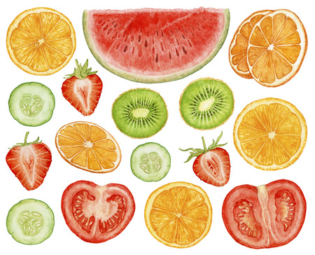 Watercolor juicy, ripe fruit, berries, vegetables cut isolated on white background. Watermelon slice, strawberry, orange slices, kiwi slices, cucumber, tomato slices. Archivio Fotografico