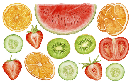 Watercolor fresh, juicy, ripe fruit, berries, vegetables cut isolated on white background. Watermelon slice, cut strawberry, orange slices, kiwi slices, cucumber, tomato slices. Archivio Fotografico