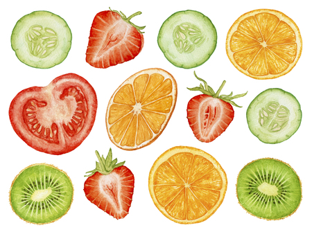 Watercolor ripe, juicy, fresh fruit, berries, vegetables cut isolated on white background. Cut strawberry, orange slices, kiwi slices, cucumber slices, tomato.