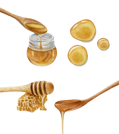 Watercolor glass jar, wooden spoons, honey stick, honeycomb, honey drops isolated on white background. Honey dripping. Sweet, delicious dessert.