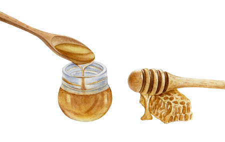 Watercolor glass jar, wooden spoon, honey stick, honeycomb isolated on white background. Honey dripping. Sweet, delicious dessert. Archivio Fotografico