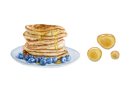 Watercolor pancakes with blueberry and honey isolated on white background. Honey drops. Sweet, delicious dessert.