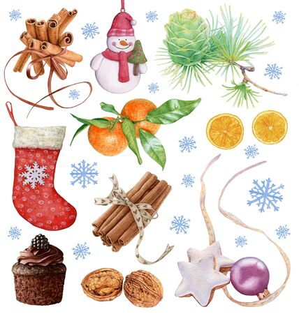 Watercolor Christmas collection. Stocking, oranges, cinnamon sticks, snowflakes, muffin, walnuts, cookies.