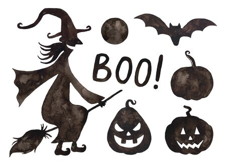 Watercolor Halloween witch, pumpkins smiling, bat.