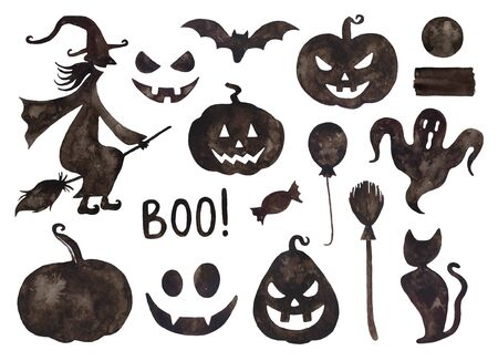 Watercolor Halloween collection. Witch, pumpkins, black cat, broom, bat.