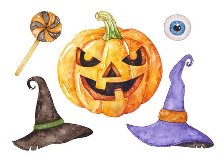 Calabaza de Halloween acuarela, sombreros de bruja, piruleta, ojo. Foto de archivo