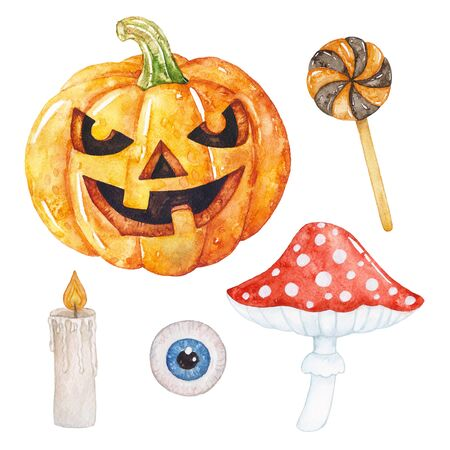 Watercolor Halloween pumpkin smiling, fly agaric, candle, candy, eye. Archivio Fotografico