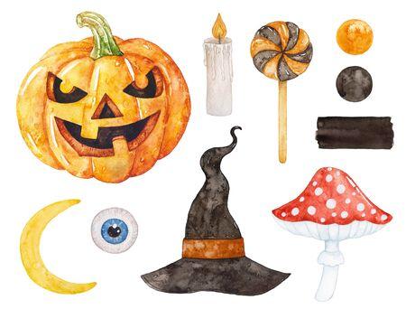 Colección de acuarela de Halloween. Sombrero de bruja, luna, vela, calabaza, agárico de mosca.