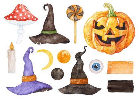 Watercolor Halloween collection. Pumpkin, witch hats, candle, fly agaric, moon. Archivio Fotografico