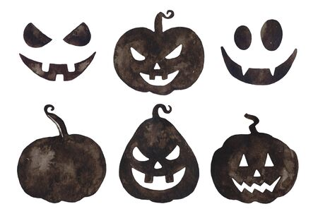 Watercolor Halloween black pumpkins.