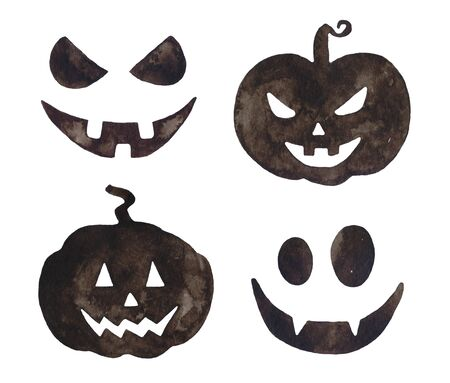 Watercolor Halloween black pumpkins smiling.