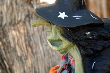 horrify: Profile of a witch near a tree. Stock Photo