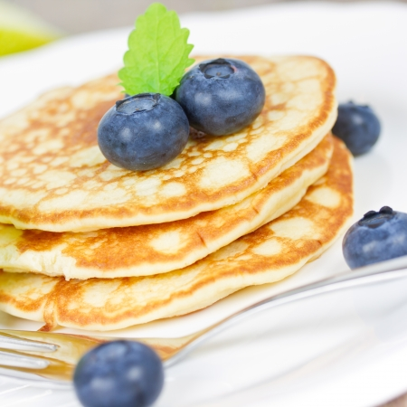 pancakes with blueberries Stock Photo