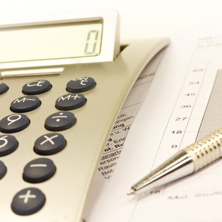 taxes budgeting: calculator Stock Photo