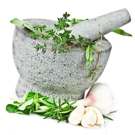 herbs in mortar Stock Photo