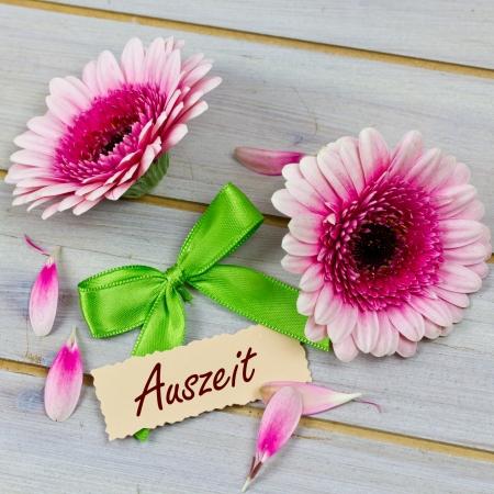 auszeit: pink flowers for present