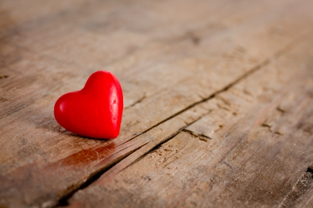 valentine's day: heart on wooden table