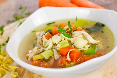 noodles soup: chicken soup Stock Photo