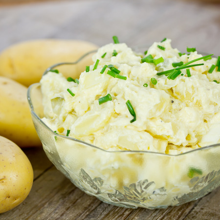 salad fork: potato salad Stock Photo