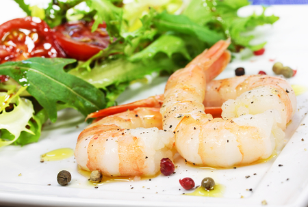 shrimp with salad