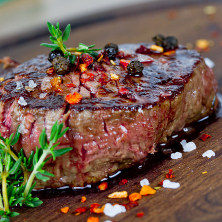 animal blood: grilled steak