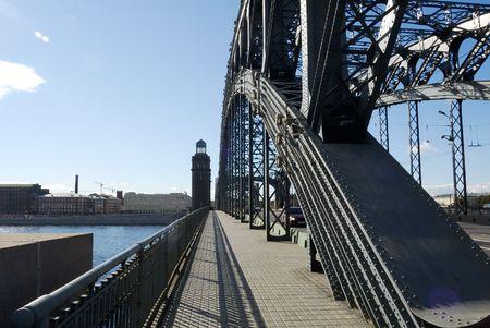 st  petersburg: St. Petersburg. Neva. Peter the Great Bridge. construction.