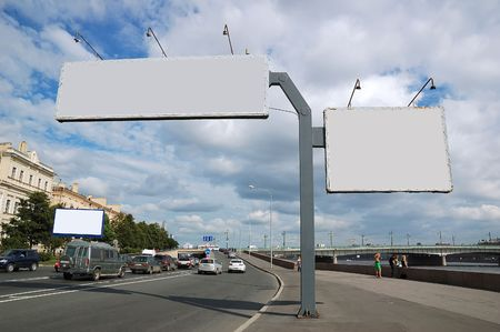 billboard posting: Billboard sign. Stock Photo