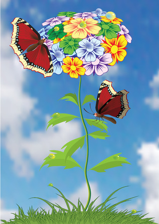 Butterflies sittings on flower. Vectorial illustration. Vector