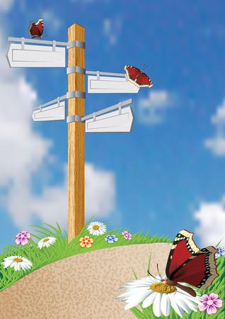 Pointer of way. Road forward. Vectorial illustration. Vector
