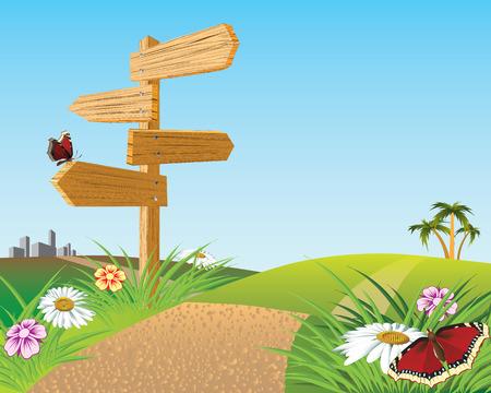 way bill: Pointer of way. Road forward. Vectorial illustration. Illustration