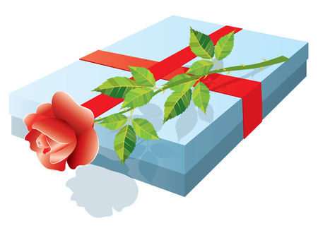 Box with a gift and rose. Stock Vector - 6464369