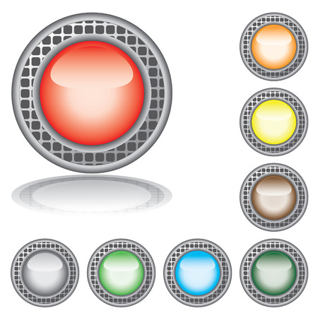 Set of the varicoloured buttons. Vector