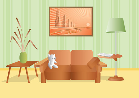 Room with a bouquet and sofa. Stock Vector - 6504001