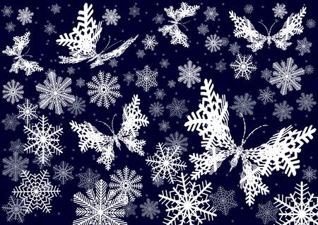 夜間の降雪。