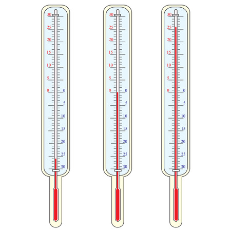 warmly: Thermometer shows a temperature Illustration
