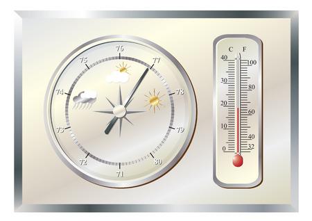 天気の定量のためのバロメーター。  イラスト・ベクター素材