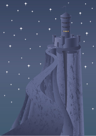 The castle in mountains. Vector