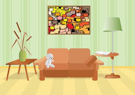red couch: Camera con un profumo e un divano.