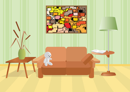 Room with a bouquet and sofa. Vector