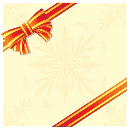 お祝いカード飾られた弓でテープ。