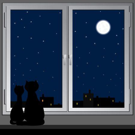 Cats look at a night city. Vector