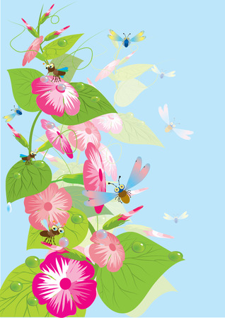 Batterfly and flowers.