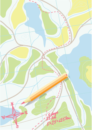 Map of trip on the forests.  Vector