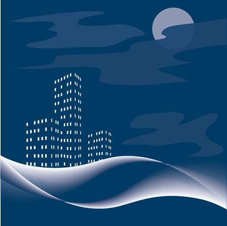 nightly: Nightly city.  Illustration